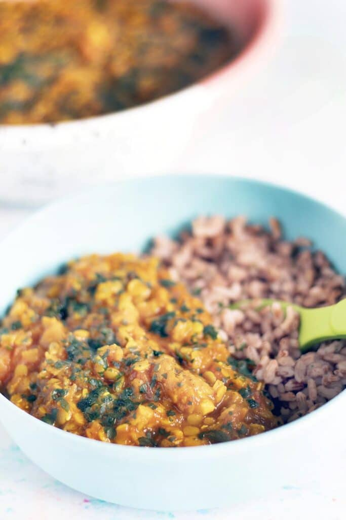 red lentil dal and rice in bowl