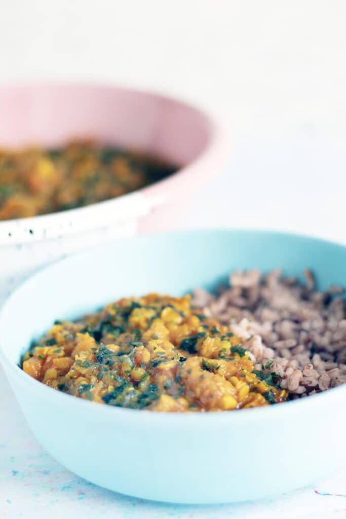 blue and pink bowls with dal and rice