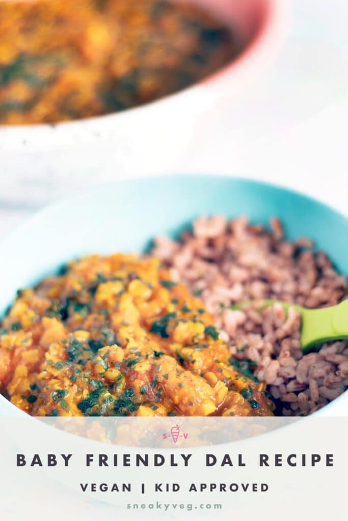 Red lentil curry and rice in bowls