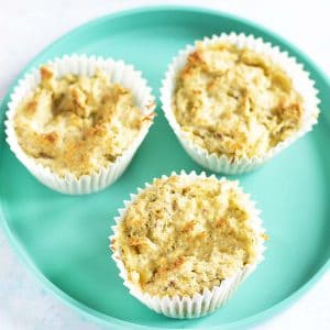 broccoli and cheese muffins on turquoise plate