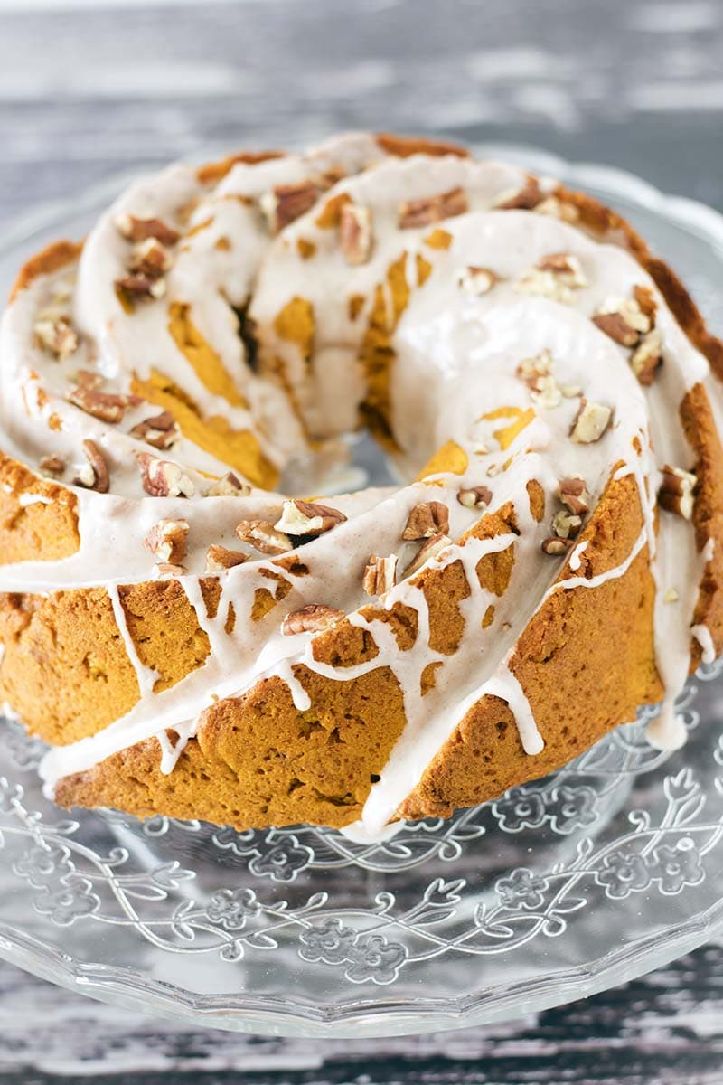 iced butternut squash cake with pecan nuts