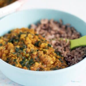 dal and rice in blue bowl