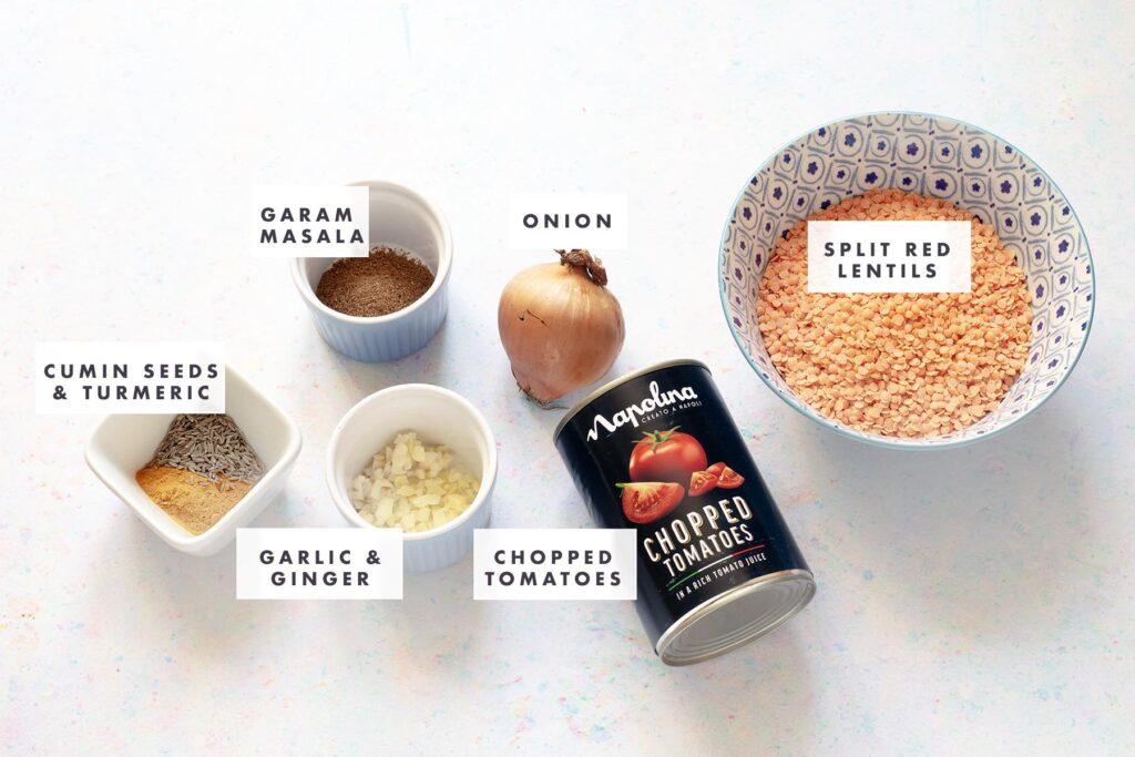 ingredients for red lentil dal