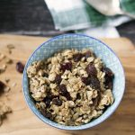 granola with dried cranberries in small bowl