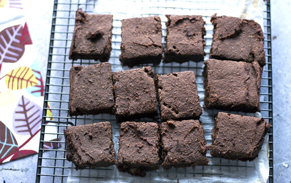 sweet potato brownies on cooling rack
