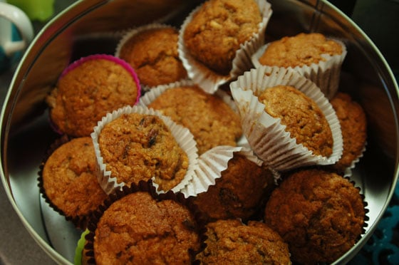 oat, apple and parsnip muffins