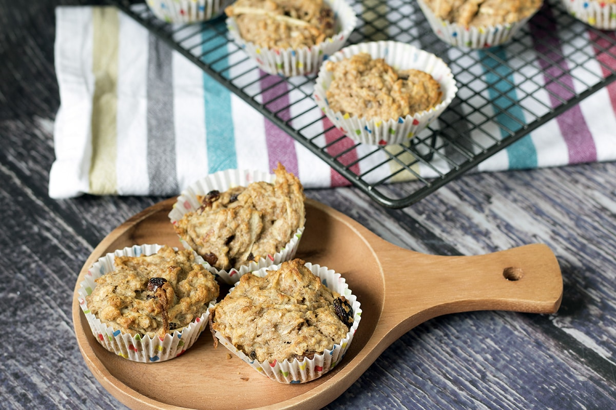 apple and parsnip muffins on plate and cooling rack