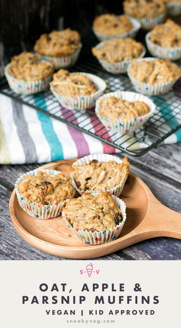 oat, apple and parsnip muffins on plate and cooling rack in background