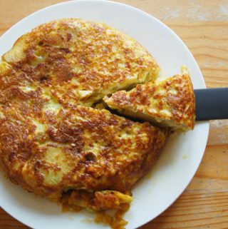 spanish omelette with potatoes and sweetcorn