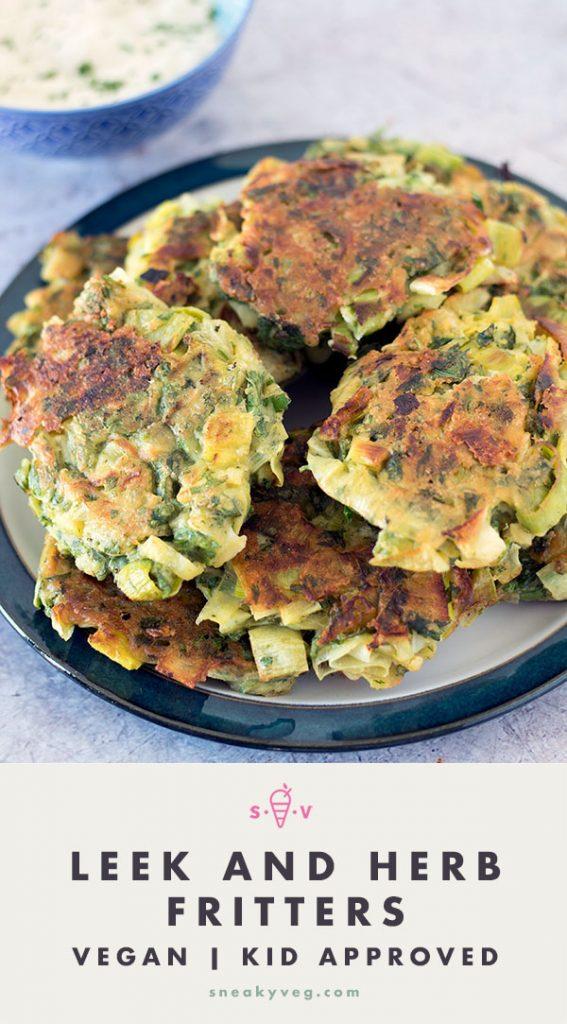 Herbed leek fritters (vegan) on plate