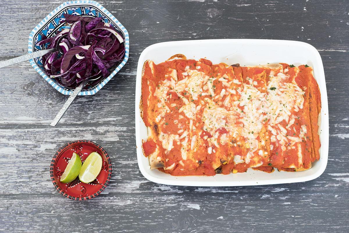 overhead shot of black bean enchiladas
