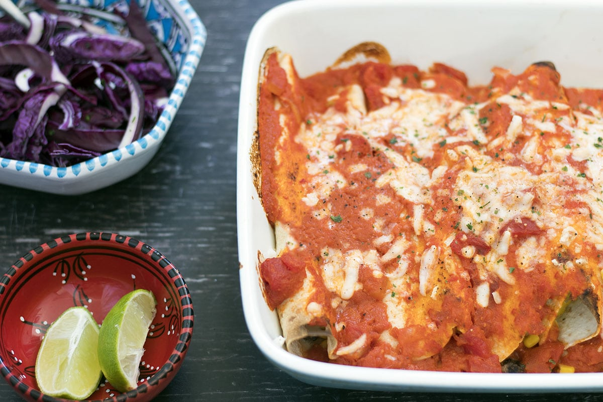 veggie enchiladas with tomato sauce and cheese