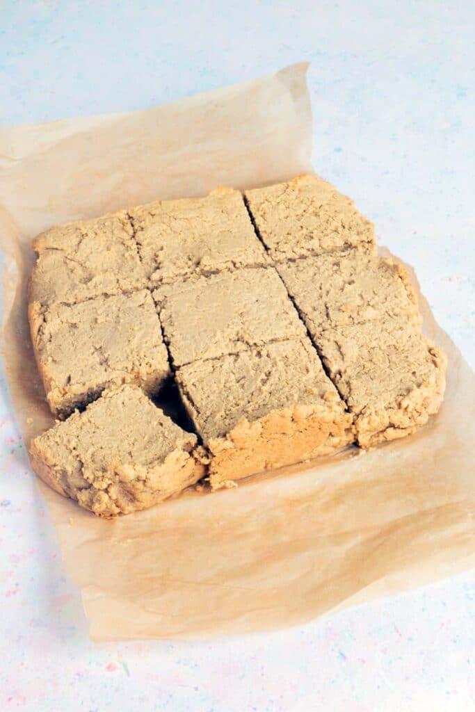 chickpea peanut butter blondies on baking paper