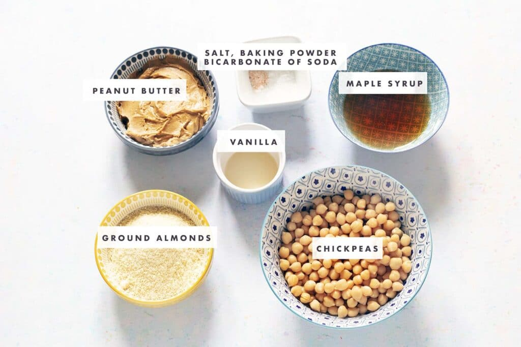 ingredients for chickpea peanut butter blondies