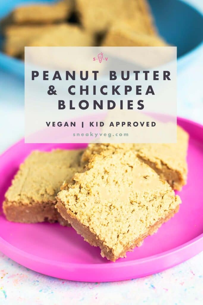peanut butter chickpea blondies on blue and pink plates