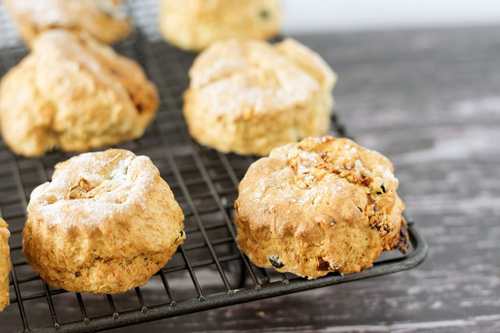 olive and sundried tomato scones on cooling rack