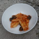 aubergine tomato sauce with black olives and pasta