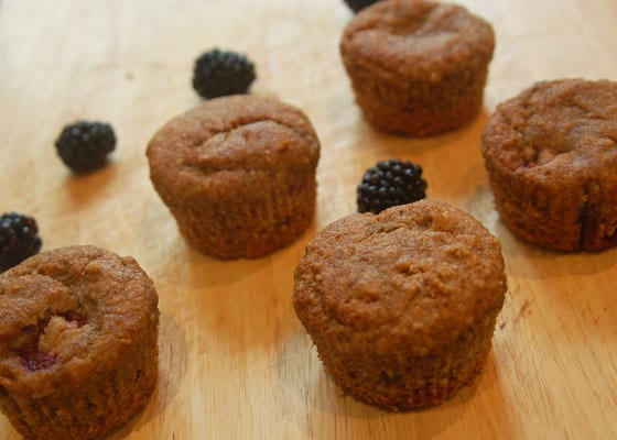 whole wheat blackberry muffins recipe by Sneaky Veg