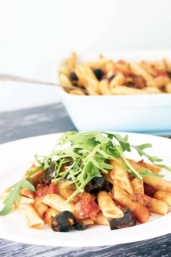 smoky tomato and aubergine pasta with rocket