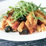 smoky aubergine and tomato pasta sauce with rocket
