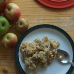 healthy apple crumble with maple syrup and pecans