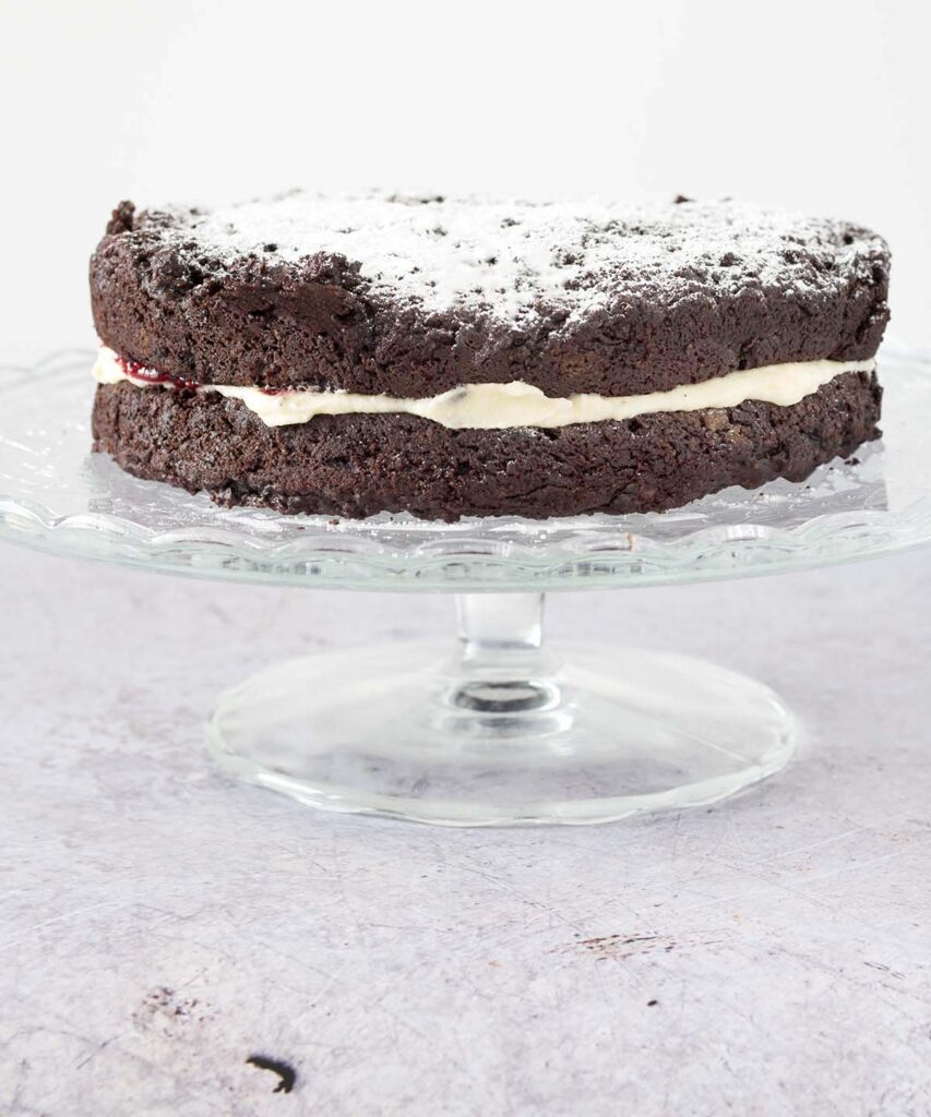 chocolate beetroot cake on stand