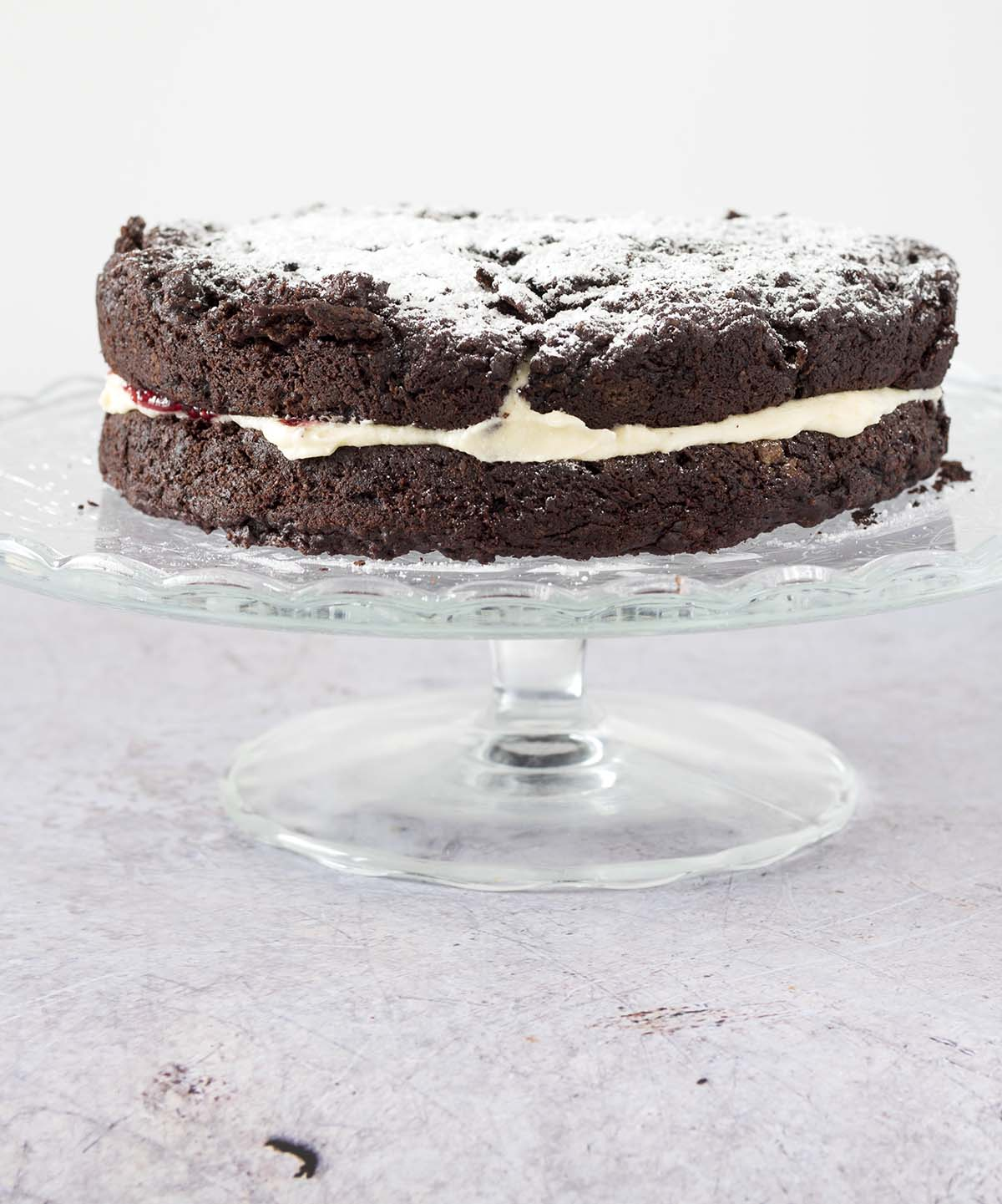 chocolate beetroot cake on cake stand