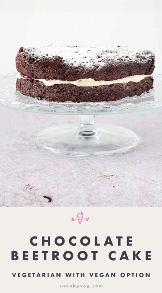 chocolate beetroot cake on glass stand
