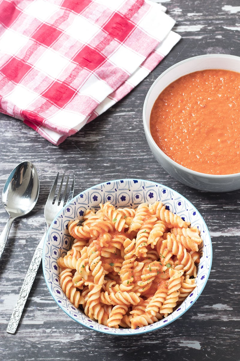 red pasta sauce in bowls