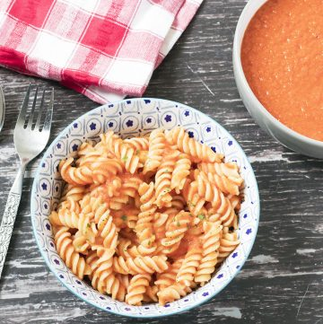 overhead shot of red pasta sauce