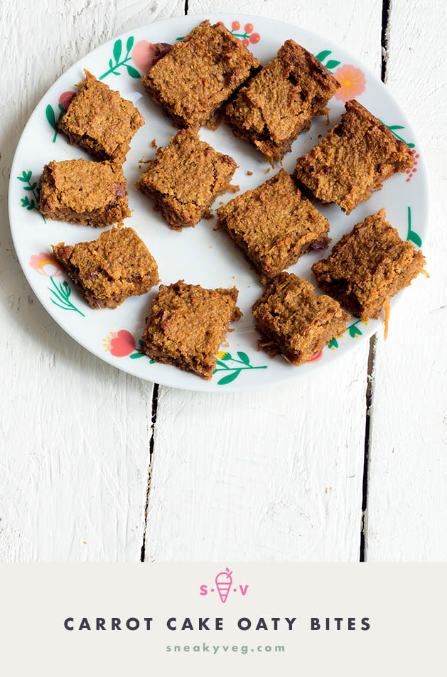 Oaty carrot cake bars recipe by Sneaky Veg