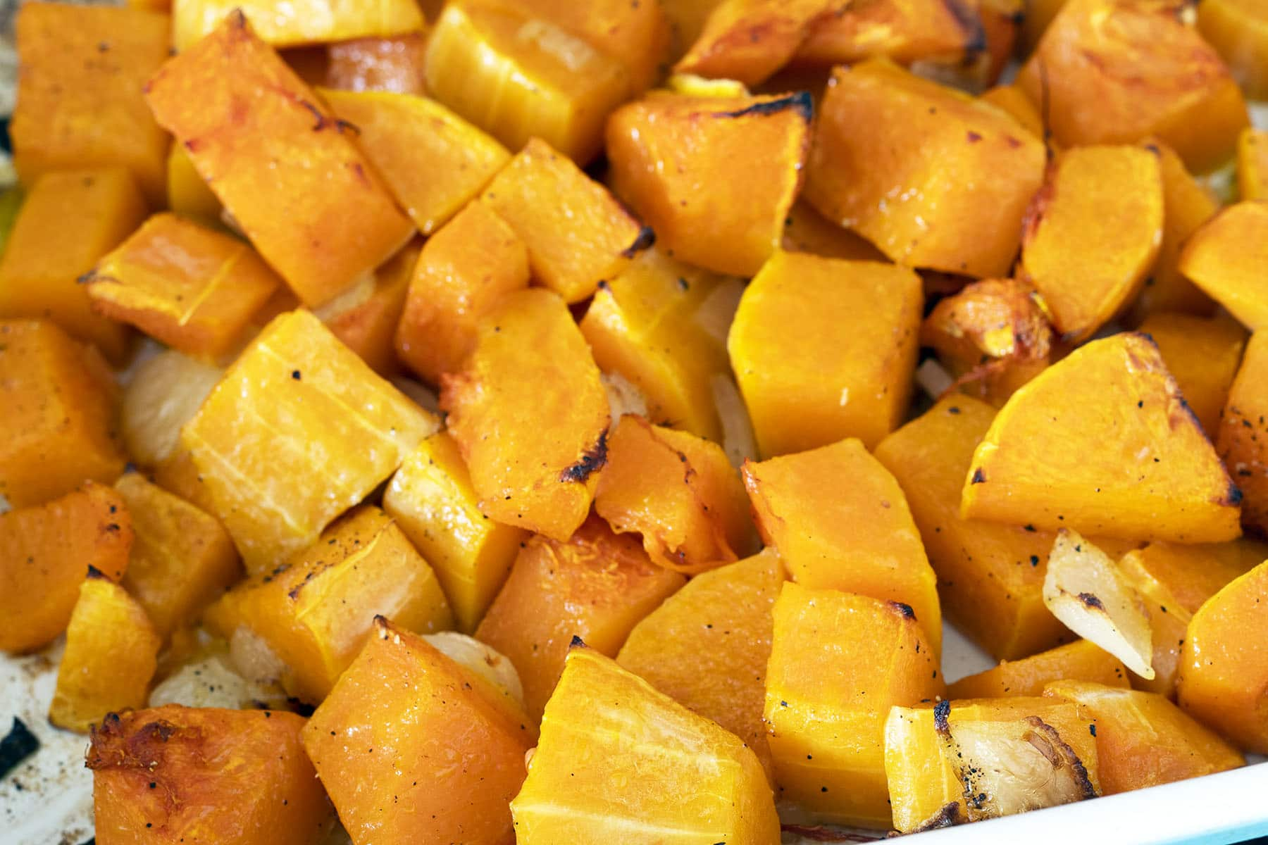 roasted butternut squash and onions