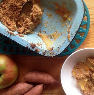 apple and sweet potato crumble by sneaky veg