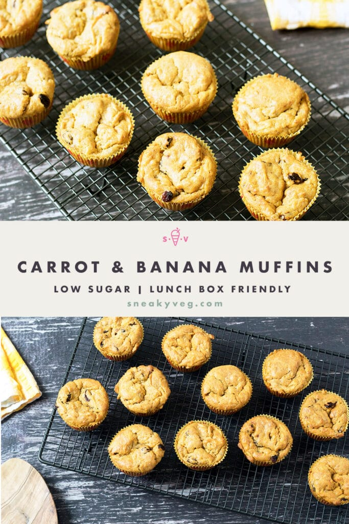 CARROT AND BANANA MUFFINS ON COOLING RACK