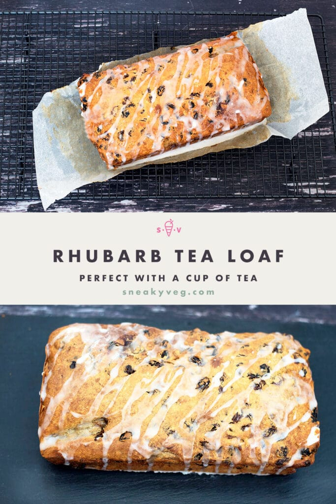 two images of rhubarb tea loaf
