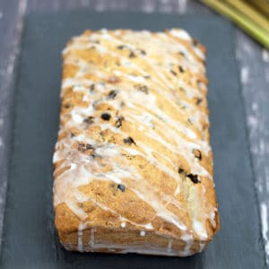 rhubarb tea loaf on slate plate
