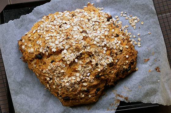 spiced carrot soda bread with yoghurt