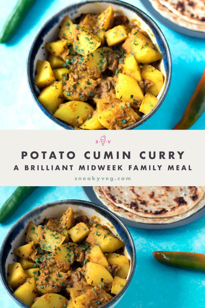potato curry in bowl with paratha and chillies