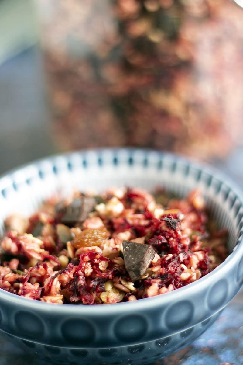 beetroot granola in jar and bowl