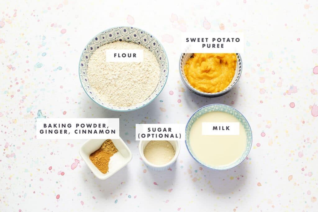 ingredients for sweet potato pancakes