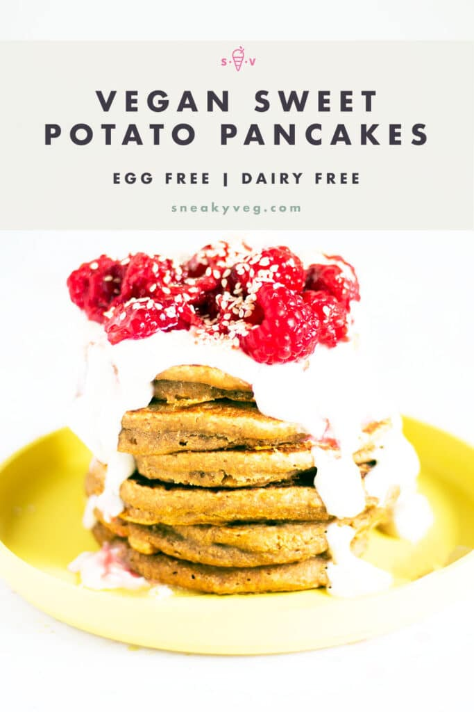 stack of sweet potato pancakes on yellow plate with yoghurt and raspberries
