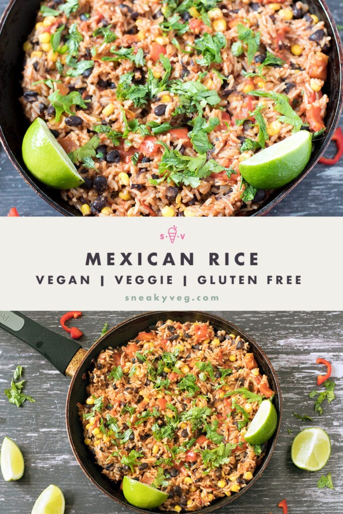 mexican rice in black frying pan