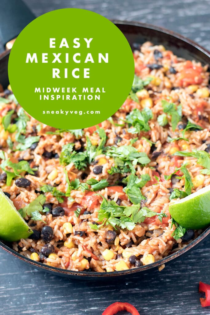 mexican rice topped with limes and coriander in frying pan