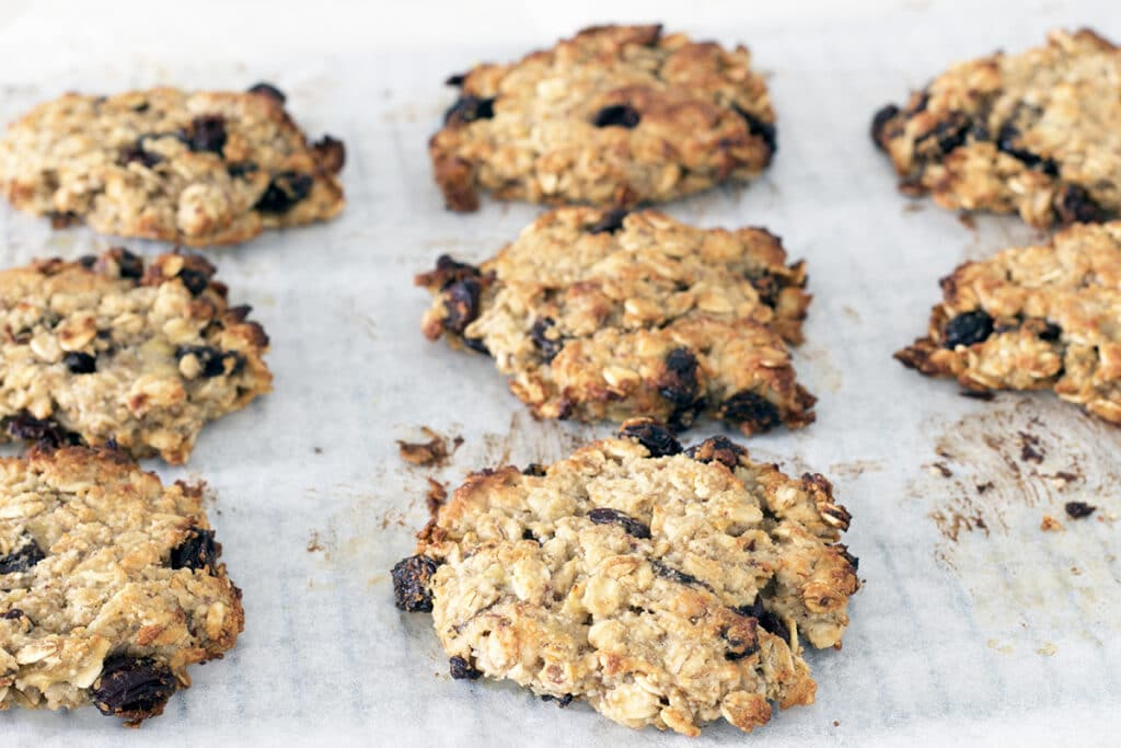 oat and banana cookies on paper
