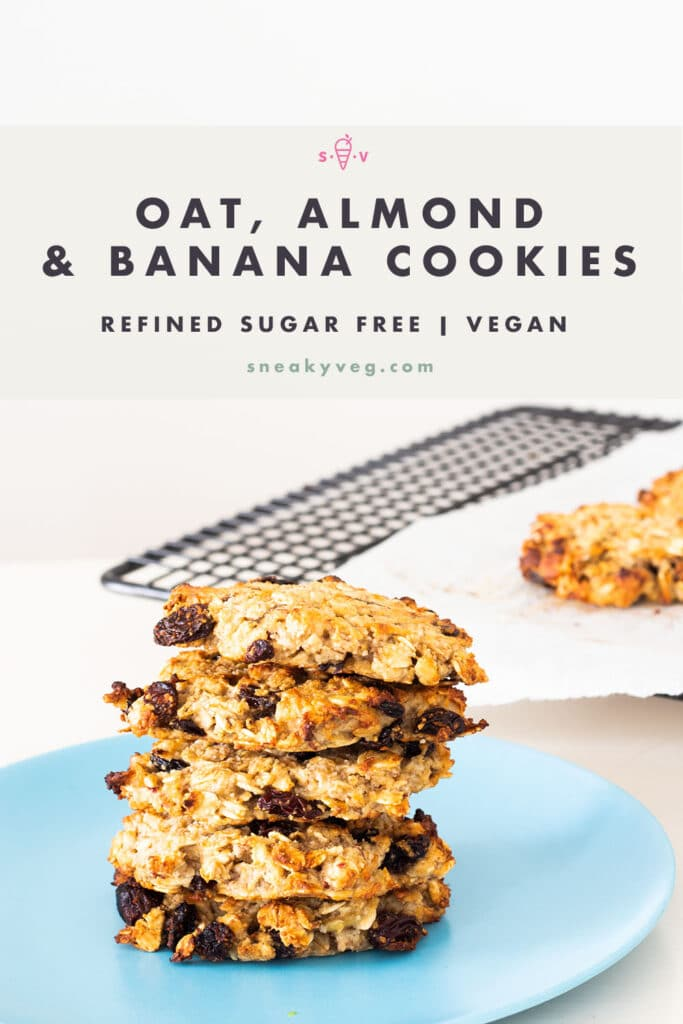 Stack of oat, almond and banana cookies