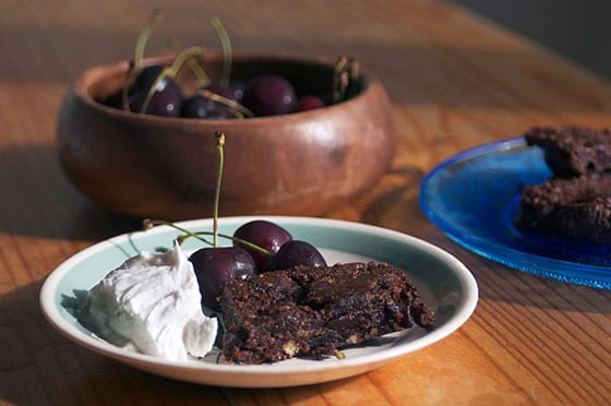 black forest brownies with coconut cream