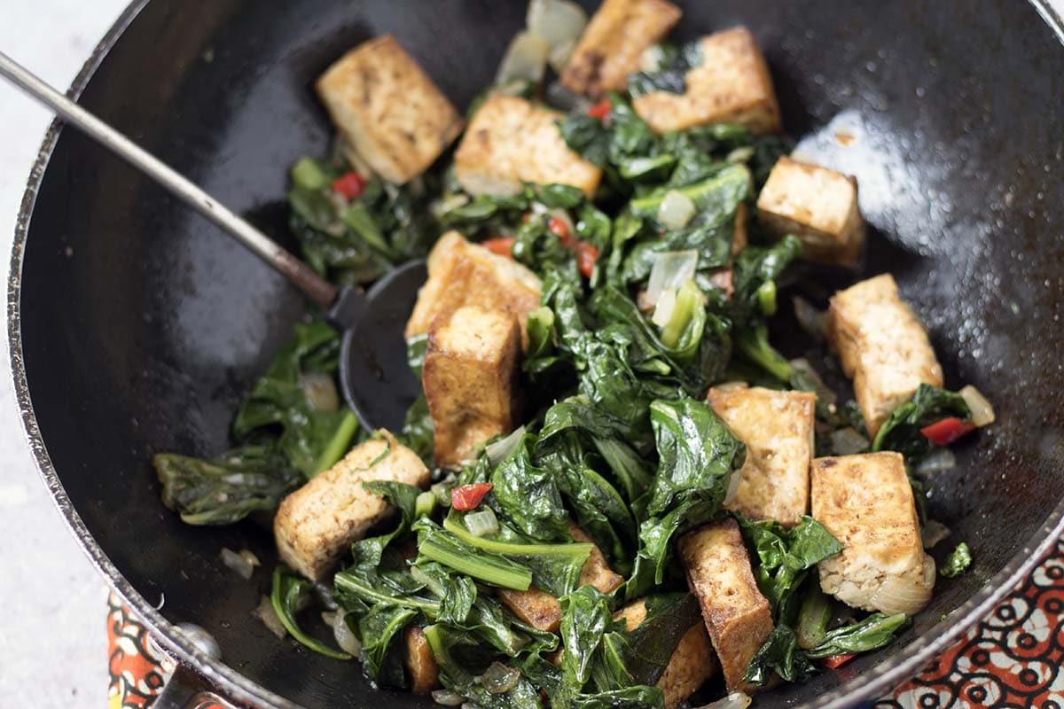 jerk tofu and callaloo or spinach