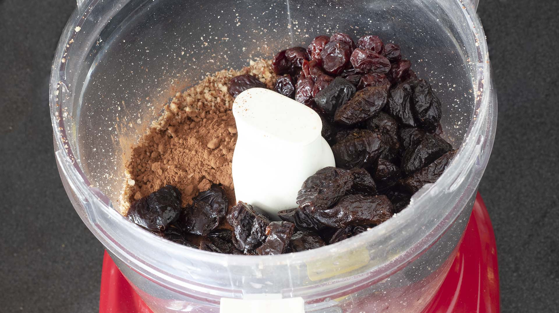 ingredients for raw brownie in food processor