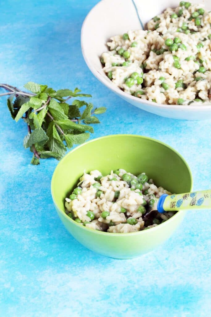 pea and mint risotto in bowls