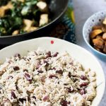 vegan caribbean recipes jerk tofu and callaloo or spinach with rice and beans and sweet potatoes